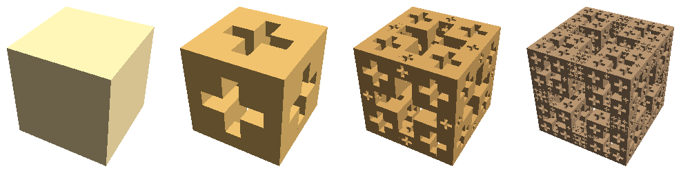 Jerusalem cube iterations 0 through 3