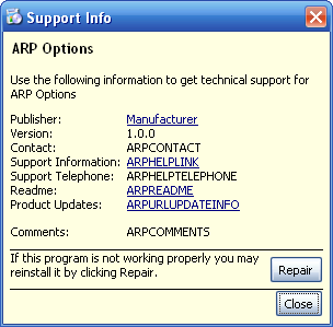 Product's ARP support info